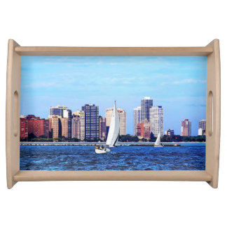 Chicago IL - Two Sailboats by Chicago Skyline Serving Tray