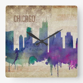 Chicago, IL | Watercolor City Skyline Square Wall Clock