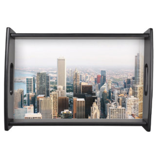Chicago Illinois Aerial View Serving Tray