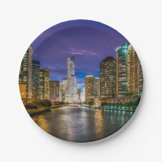 Chicago Illinois at night Paper Plate