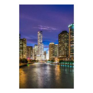 Chicago Illinois at night Stationery