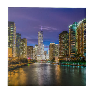 Chicago Illinois at night Tile
