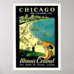 Chicago Illinois Beach Vintage Travel