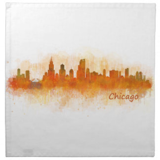 Chicago Illinois City Skyline v03 Napkin