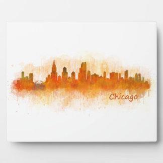 Chicago Illinois City Skyline v03 Plaque