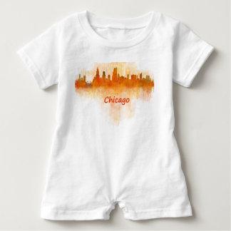 Chicago Illinois Cityscape Skyline Dark Baby Romper