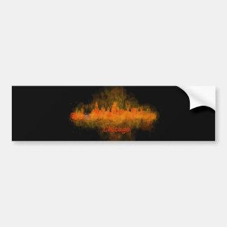 Chicago Illinois Cityscape Skyline Dark Bumper Sticker