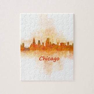 Chicago Illinois Cityscape Skyline Dark Jigsaw Puzzle