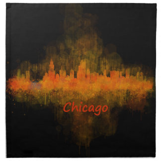 Chicago Illinois Cityscape Skyline Dark Napkin