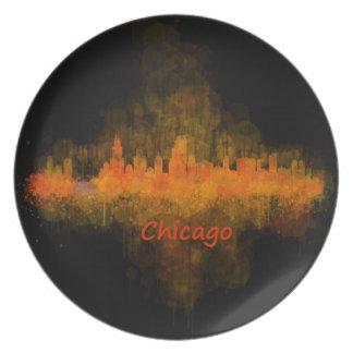 Chicago Illinois Cityscape Skyline Dark Plate