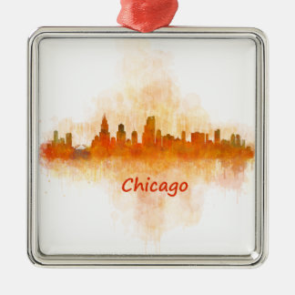 Chicago Illinois Cityscape Skyline Dark Silver-Colored Square Ornament