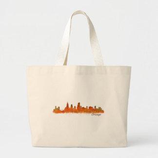 Chicago Illinois Cityscape Skyline Large Tote Bag