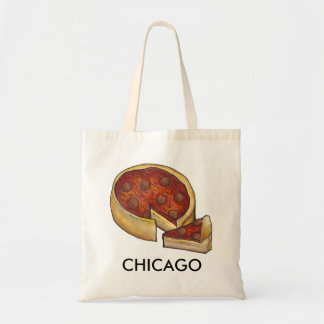 Chicago Illinois Deep Dish Pepperoni Cheese Pizza Tote Bag