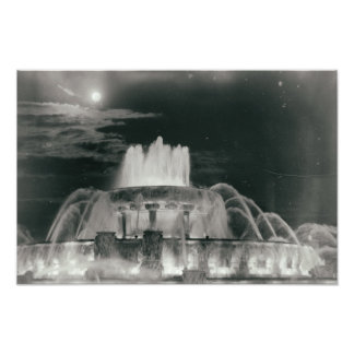 Chicago Illinois Fountain in Park at Night Photo Art