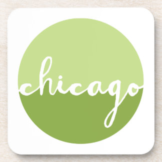 Chicago, Illinois | Green Ombre Circle Beverage Coaster