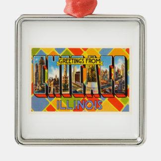 Chicago Illinois IL Old Vintage Travel Souvenir Silver-Colored Square Ornament