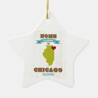 Chicago, Illinois Map – Home Is Where The Heart Is Ceramic Ornament