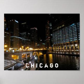 Chicago Illinois Night View Poster