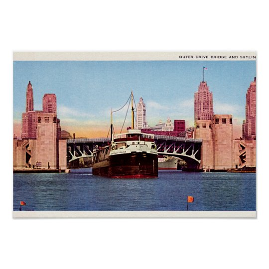 Chicago Illinois Outer Drive Bridge and Skyline Poster