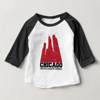 Chicago, Illinois | Red City Skyline Baby T-Shirt