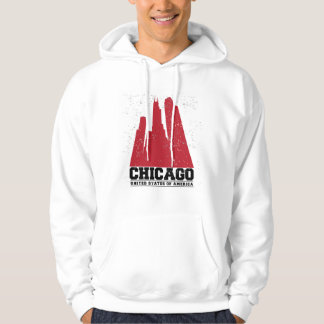 Chicago, Illinois | Red City Skyline Hoodie