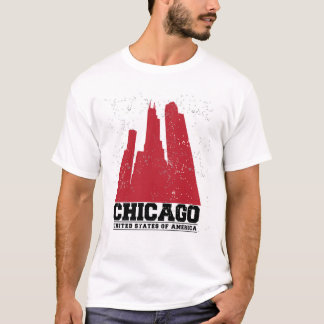 Chicago, Illinois | Red City Skyline T-Shirt
