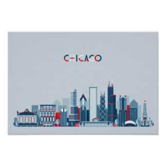 Chicago, Illinois | Red, White and Blue Skyline Poster