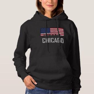 Chicago Illinois Skyline American Flag Distressed Hoodie