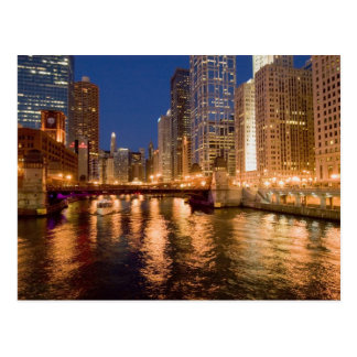 Chicago, Illinois, Skyline and Chicago River at 2 Post Cards