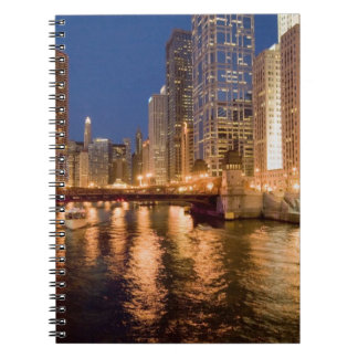 Chicago, Illinois, Skyline and Chicago River at 2 Spiral Notebooks