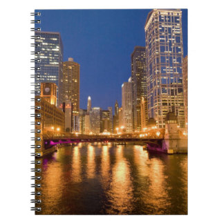 Chicago, Illinois, Skyline and Chicago River at Spiral Notebooks