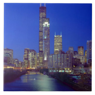 Chicago, Illinois, Skyline at night with Chicago Ceramic Tiles
