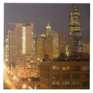 Chicago, Illinois, Skyline from West Loop at Ceramic Tile