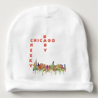 Chicago, Illinois Skyline SG-Faded Glory Baby Beanie