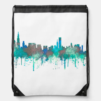 Chicago Illinois Skyline-SG-Jungle Drawstring Bag