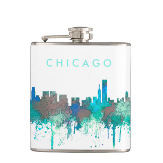 Chicago Illinois Skyline-SG-Jungle Hip Flask