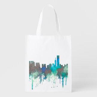 Chicago Illinois Skyline-SG-Jungle Reusable Grocery Bag