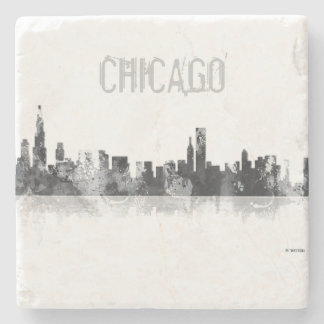 CHICAGO ILLINOIS SKYLINE - stone drinks coaster