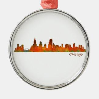 Chicago Illinois U.S. City skyline v01 Silver-Colored Round Ornament