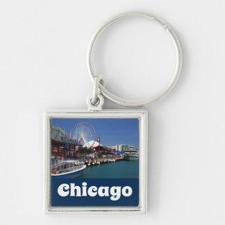 Chicago Illinois USA - Chicago Skyline Navy Pier Keychain