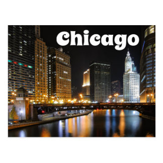 Chicago Illinois USA - Night Chicago Skyline Postcard