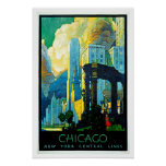 Chicago Illinois Vintage Travel Poster