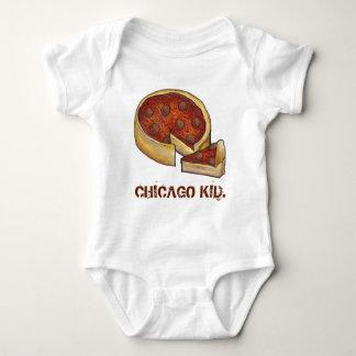 CHICAGO KID Illinois Deep Dish Pepperoni Pizza Baby Bodysuit