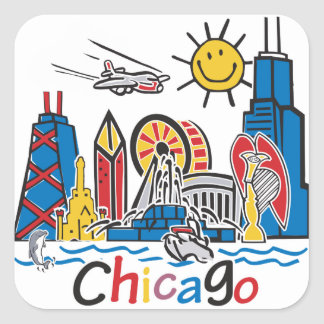 Chicago Kids Dark Square Sticker