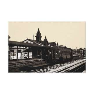 Chicago L 1950 Watercolor Sepia Photograph Subway Canvas Print