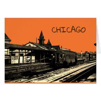 Chicago L 1950 Watercolor Sepia Photograph Subway Card