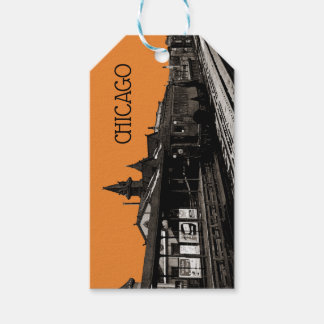 Chicago L 1950 Watercolor Sepia Photograph Subway Gift Tags