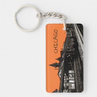 Chicago L 1950 Watercolor Sepia Photograph Subway Keychain