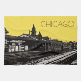 Chicago L 1950 Watercolor Sepia Photograph Subway Kitchen Towel