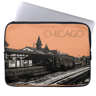 Chicago L 1950 Watercolor Sepia Photograph Subway Laptop Sleeve